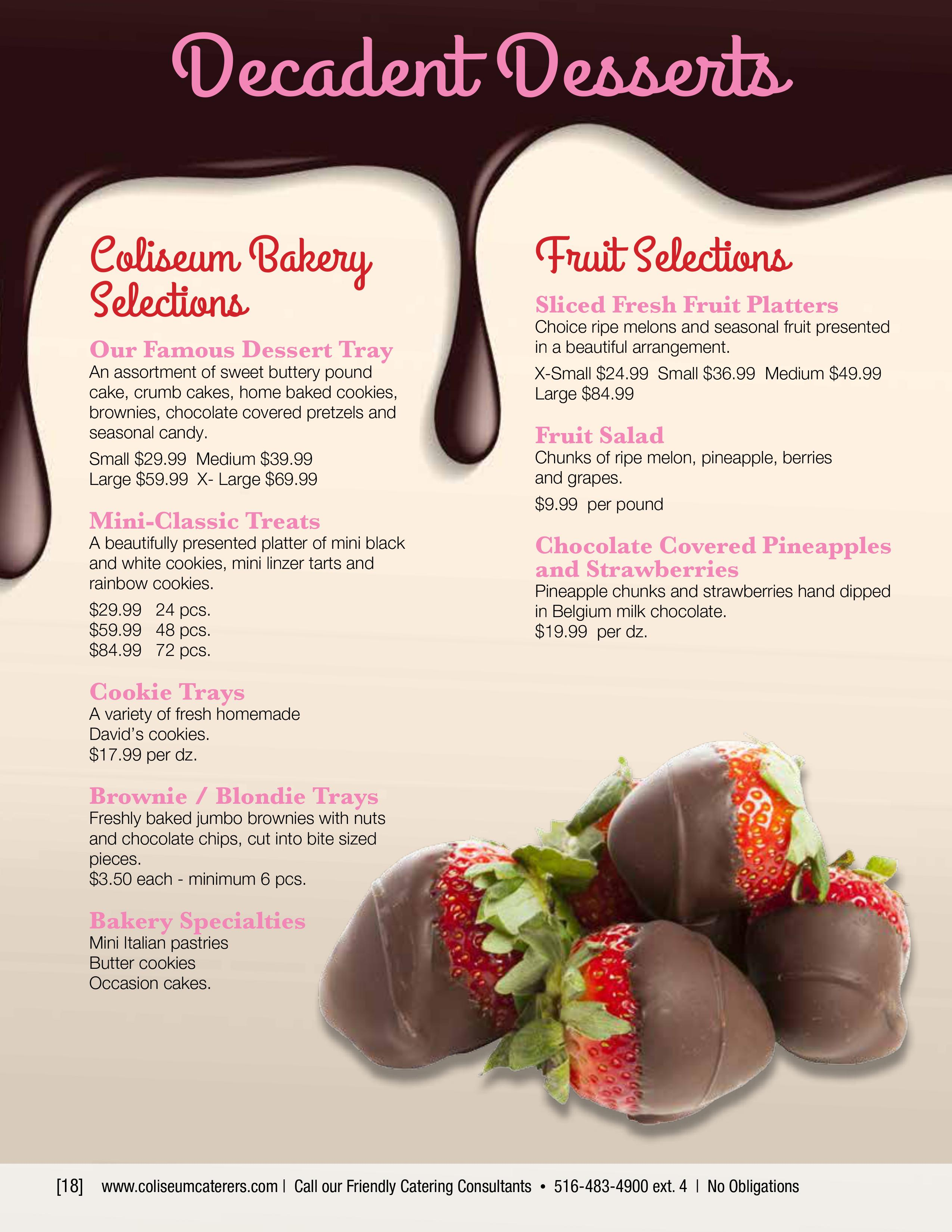 Decadent Desserts | Coliseum Kitchen & Caterers