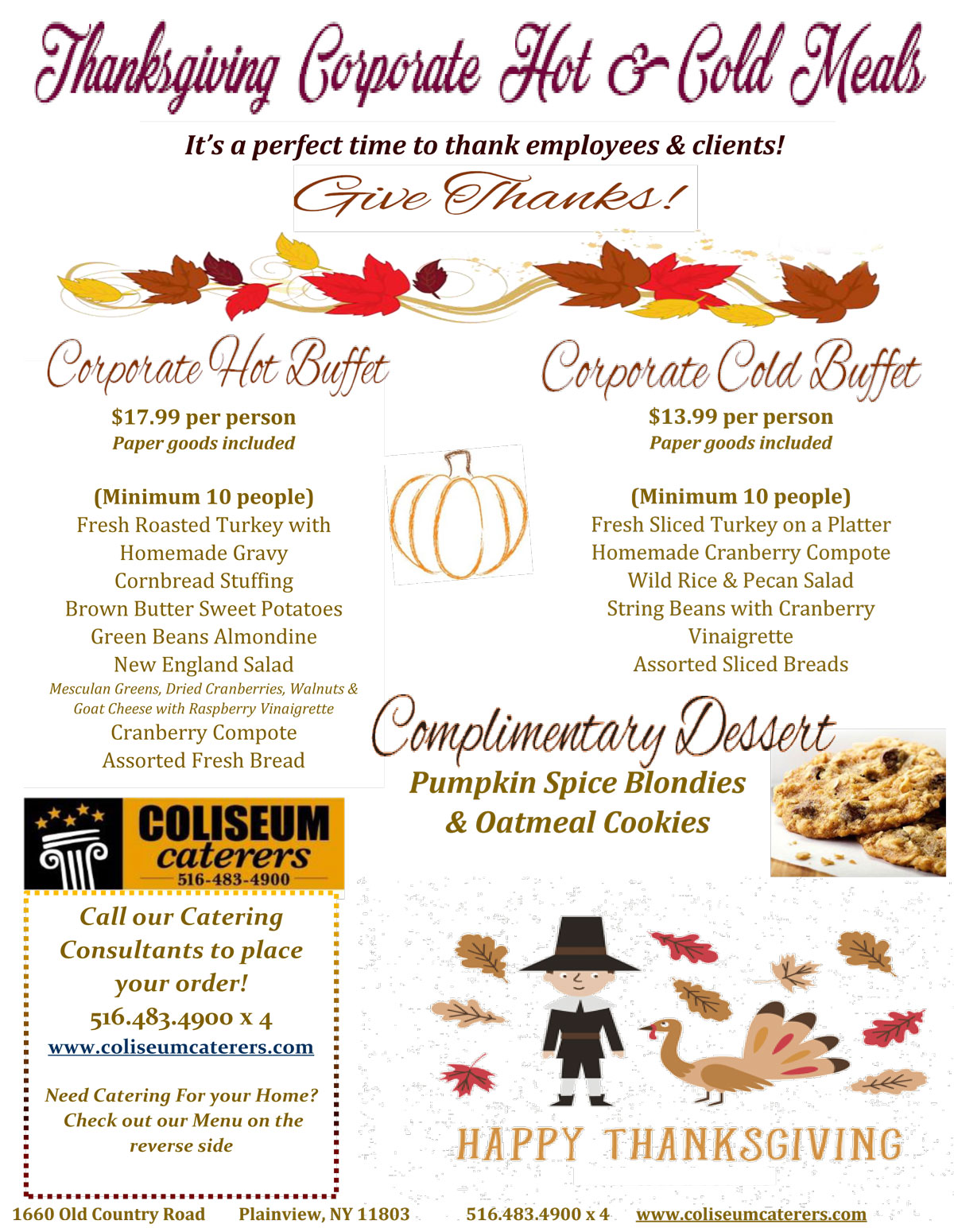 Thanksgiving Specials | Coliseum Kitchen & Caterers